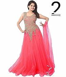 shubham creation women's peach pink JARI GOWN SOFT NET dress material