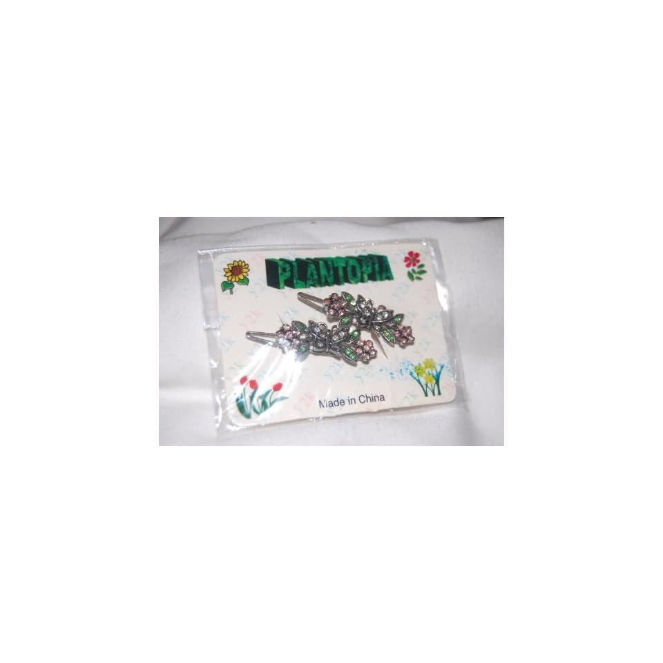 Clear Butterfly, Purple Flowers & Green Stems on 1.5 Silver Metal