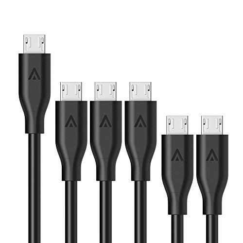 【6本セット】Anker PowerLine Micro USBケーブル 【防弾仕様の高耐久ケブラー繊維】 急速充電 高速データ転送対応 Galaxy / Xperia / Nexus / Android各種スマートフォン&タブレット / 電子書籍他対応 (0.3m×2、0.9m×3、1.8m×1) B8133012