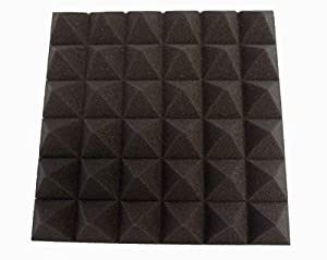 [Mybecca] 12 PACK Premium Acoustic Pyramid Soundproofing Wall Tiles 12 X 12 X 2 inch, Made in USA