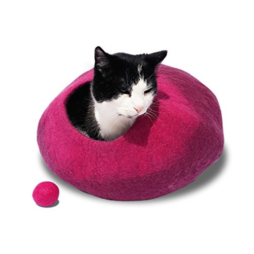 Woolly Mammoth and Kitty Jewel Cat Cave Bed with Deep Fuchsia
