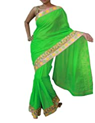 Sweta Sutariya Women's Silk Pista Green Saree