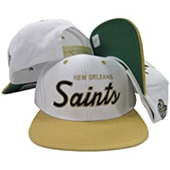 New Orleans Saints White Black Script Two Tone Adjustable Snapback Hat Cap by Reebok