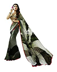 Pramukh saris Womens Georgette Printed Sari(Black,Grey)