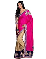AG Lifestyle Pink & Beige Faux Georgette Saree With Unstitched Blouse ASL702