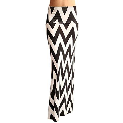 Djt Women'S High Waisted Zig-Zag Chevron Ankle Long Maxi Skirt Black-White Xl