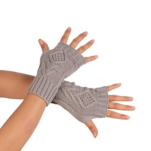 Guanti Senza Dita Invernali, Ularma Guanti Senza Dita del Braccio di Modo di inverno lavorato a maglia Caldo Molle Mitten (Grigio)