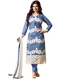 Surat Tex Blue Colored Cotton Embroidered Casual Wear Semi-Stitched Salwar Suit-K35DL1558