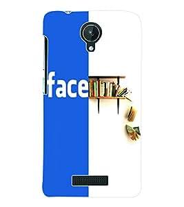 Fuson 3D Printed Facebook Designer Back Case Cover for Micromax Canvas Spark Q380 - D1043
