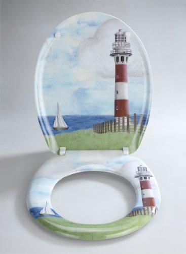 Wenko-18904100-Thermoset-Plastic-Toilet-Seat-Lighthouse