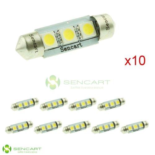 "10X 1.55"" 39Mm 3-Smd 5050 Led White Lights Festoon Dome Bulbs 6411 6418 C5W 6423"