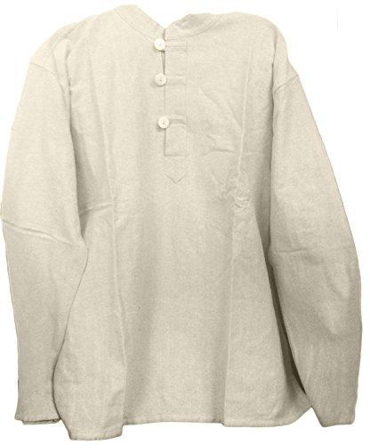 Mens Tunic Muslin Cotton Cream Colored 3-button Loop Closure, Mandarin Collar (XLarge)