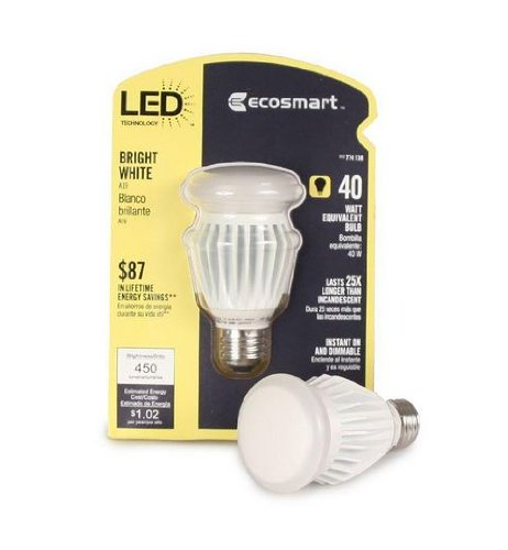 Ecosmart 774138 8.5-Watt (40W) Bright White (3000K) A19 Led Light Bulb
