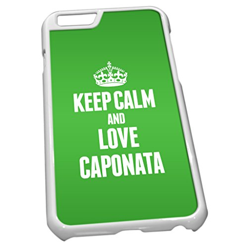 Blanc Coque pour iPhone 6 0903 Vert Keep Calm and Love caponata