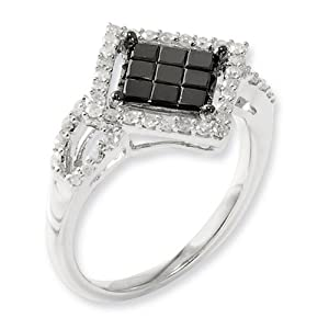 IceCarats Designer Jewelry Size 8 Sterling Silver Black White Diamond Ring