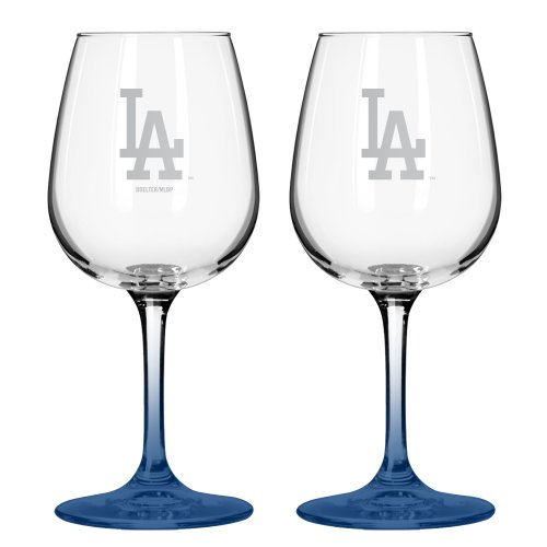 Mlb Los Angeles Dodgers Satin Etch 12-Ounce Wine Glass (Pack Of 2) front-560986