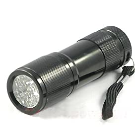 9 LED 400 nM UV Ultra Violet Blacklight Flashlight 3AAA, 7301UV400