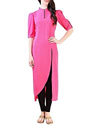 Femeie Apparel Women's Cotton Regular Fit Western Type Pink Color Kurta
