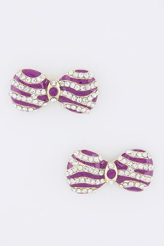 Baubles & Co Crystal Bow Striped Earrings (Fuchsia) front-1074376