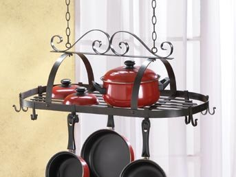 Buy Low Price Gift Warehouse 35603 Hanging Iron Pot Rack (B00147O9HI)