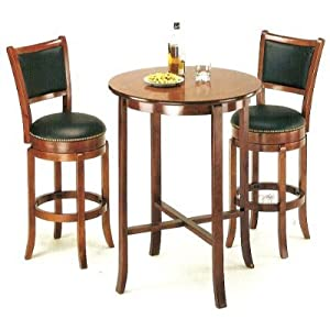 3pcs York Cherry Pub Table Set With 2 Bar Stools Kitchen D