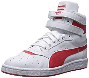 PUMA Men's Sky Ii Hi FG Fashion Sneakers, White/High Risk Red, 10 D US