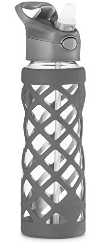 Swig Savvy 25oz Glass Water Bottle - Protective Silicone Sleeve With 3 Interchangeable Leak-proof Caps . Sleek, Durable & Stylish - PBA Free - Break Resistant Borosilicate Glass (Gray, 1 Pack) (Buddy Fruits Pure Fruit Bites compare prices)