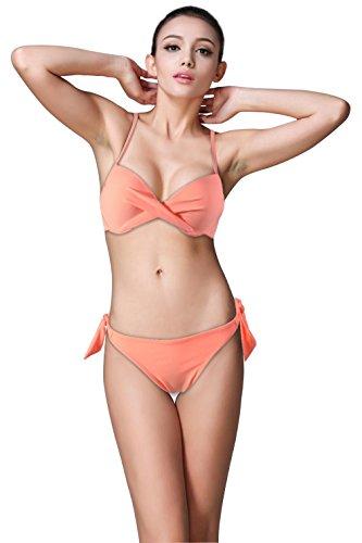 Komene Women Sexy Straps 2PCS Swimsuit Swimwear Bikini Set Pink