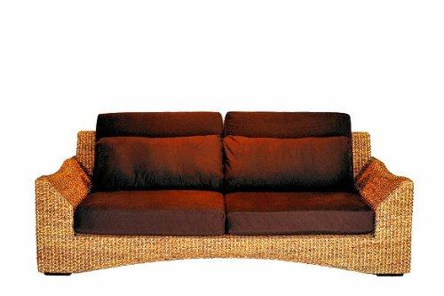 アジアン家具 ウォーターヒヤシンス ウォーターヒヤシンスを贅沢に使った3人掛けソファー 【WS26-3P】 (波型)