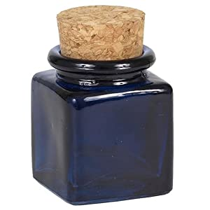 small square blue glass jar with cork top small glass jars with lids everything. Black Bedroom Furniture Sets. Home Design Ideas