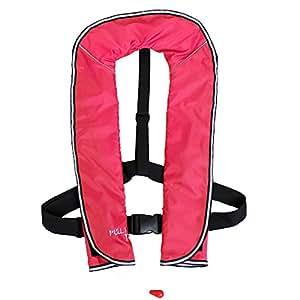 DABADA(ダバダ) ライフジャケット インフレータブル ベストタイプ 膨張式 救命胴衣 男女兼用 フリーサイズ (首かけ手動膨張式ピンク)