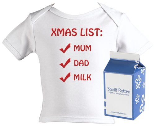 Spoilt Rotten - Xmas List Baby Christmas Gift 100% Organic Sizes 12-18 months WHITE/BLACK