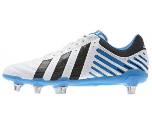 Cheap ADIDAS Regulate Kakari SG Men's Rugby Boots, White/Black/Blue, US10.5