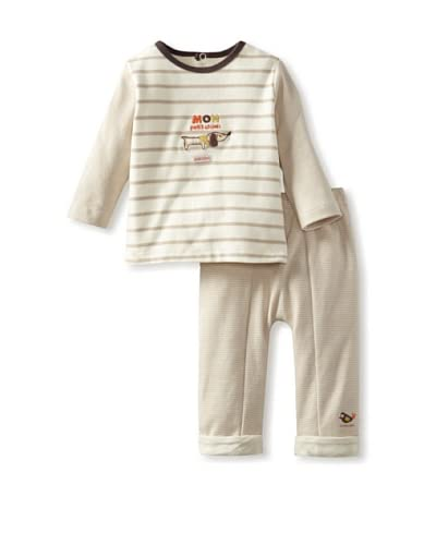 Sucre d'Orge Baby Two Piece Top and Pants Set  [Beige]