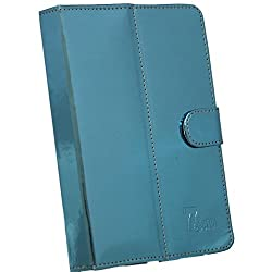 BRAIN FREEZER G10 MIRROR 7INCH FLIP FLAP CASE COVER POUCH CARRY FOR INTEX IBUDDY CONNECT 3G LIGHT BLUE