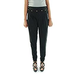 Amohaa Women's Polyster Harem Pant Black Strip (Large)