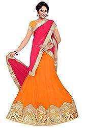 Pushty Fashion Orange and Pink net Emnroidered Lehenga
