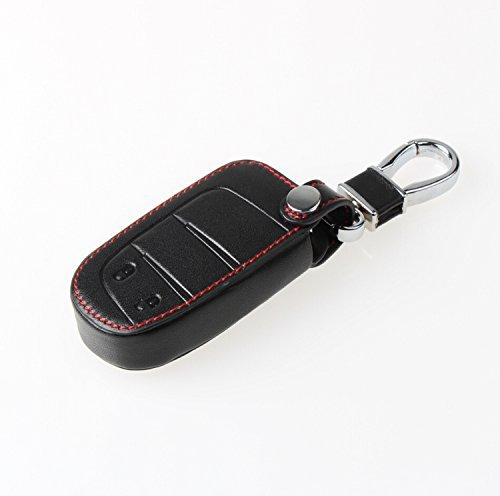 9 Moon Leather Car Key Chain Key Case For Dodge Journey 2012 2013 2014-Black With Red Line (Key For Dodge Journey compare prices)