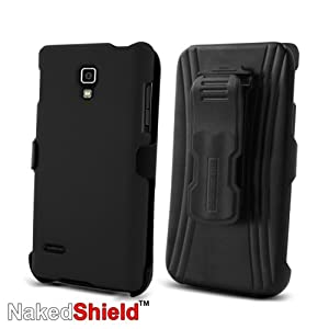 T-Mobile LG Optimus L9 P769 Black Protector Case with KickStand BeltClip Holster + Naked Shield Hd Screen Protector