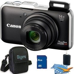 Canon PowerShot SX230HS 12 MP Digital Camera with HS SYSTEM and DIGIC 4 Image Processor (Black) Deluxe Bundle Includes Camera , 4 GB Memory Card, Deluxe Carrying Case, and 3pc. Lens Cleaning Kit.
