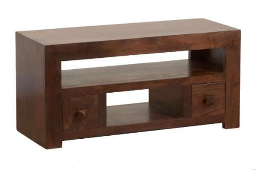 Homescapes - Dakota - TV / DVD Unit 2 Drawer - Dark - 100% Solid Mango Hard Wood - ( No Veneer ) Hand Crafted... Black Friday & Cyber Monday 2014