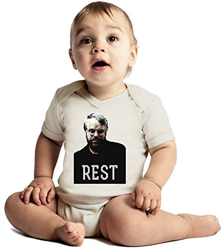 ZEUS Rest Philip Seymour Hoffman Amazing Quality Baby Bodysuit by True Fans Apparel - Made From 100% Organic Cotton- Super Soft V-Neck Style - Unisex Design- Perfect As A Present 6-12 months