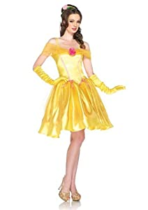 Leg Avenue Disney 2Pc.Princess Belle Off The Shoulder Satin Dress and Headpiece, Yellow, Medium