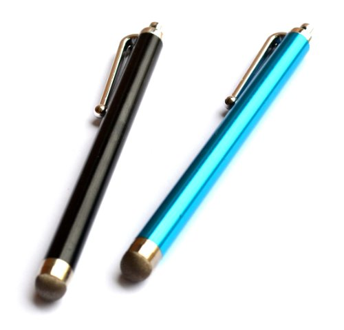 Bargains Depot® Black/Blue 2 pack of SENSITIVE / CONDUCTIVE HYBRID FIBER TIP Capacitive Stylus/styli Universal Touch Screen Pen for Cell Phone/Tablet : Creative Ziio 10 // Creative Ziio 7 // Dell Lattitude 10 // Dell XPS 10 // Double Power DOPO D7015 D-7