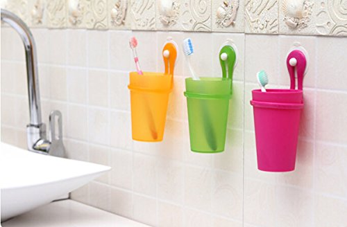 Fusicase Magic Cup,Fusicase Creative Bathroom Plastic Suction Cup Hanging Tooth mug Couples Toothbrush Cup(Yellow)