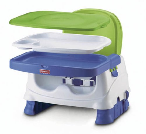 Fisher-Price Healthy Care Deluxe Booster Seat, Blue/Green/Gray