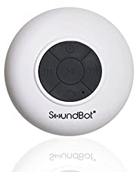 SoundBot® SB510 HD Water Resistant Bluetooth 3.0 Shower Speaker, Handsfree Portable Speakerphone with Built-in Mic, 6hrs of playtime, Control Buttons and Dedicated Suction Cup for Showers, Bathroom, Pool, Boat, Car, Beach, & Outdoor Use (White)