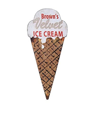 Reproduction Tin Ice Cream Cone Wall Décor, Brown/White