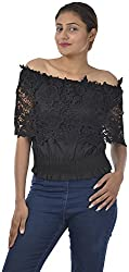 Sahiba Fashions Women's Short Sleeve Top (Black)