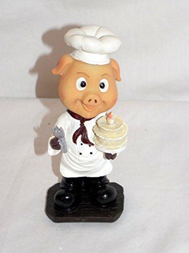 NEW BOBBLEHEAD BARNYARD PIG PIGLET BAKER CHEF BIRTHDAY CAKE STATUE FIGURE 6